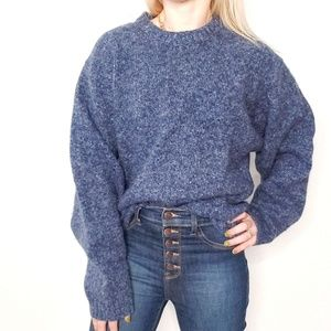 90s Vintage Blue Wool Oversized Grandpa Sweater